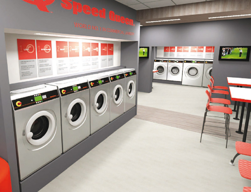 Inside Speed Queen commercial laundry in Germany